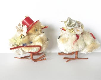 2 Vintage Easter Chicks Pom Pom Chenille Bonnets Hats Collectible Figurines