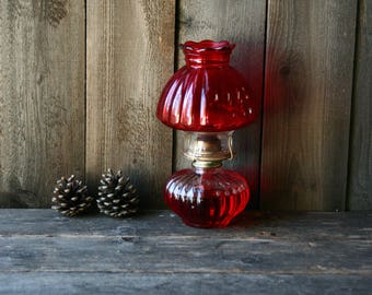 Red Glass Oil Lantern Vintage From Nowvintage on Etsy