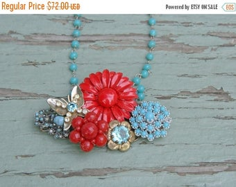 Memorial Day SALE Red Turquoise Brooch Collage Necklace Vintage Blue Aqua Crimson Scarlet Butterfly Enamel Flower Pin Assemblage