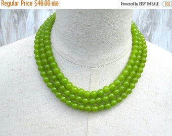 XMAS in JULY SALE Triple Strand Lime Green Peridot Beaded Collar Necklace