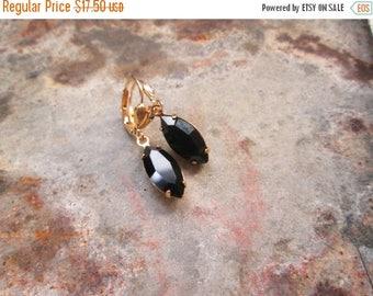 XMAS in JULY SALE Black Swarovski Crystal Gold Navette Earrings