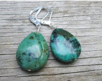 XMAS in JULY SALE Green Turquoise Tear Drop Earrings, Sterling Silver Wire Wrapped
