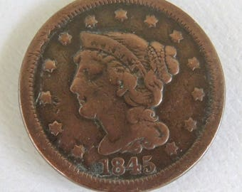 Vintage 1845 Large Penny - Braided Hair Penny - Rare Penny - Rare Coins