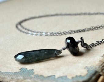 ON SALE Wire wrapped Solomon cats eye  and onyx necklace, long sterling silver chain - Ghost Ship