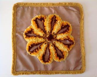 Vintage 60's Daisy Throw Pillow Cover Yellow Orange Yarn Shag Design