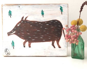 Painting on reclaimed wood of a wild boar