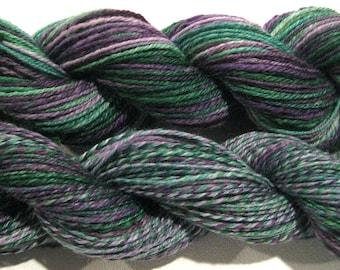 Handspun yarn, Grapevine, 319 yards DK weight 3 ply 2 ways, purple green , sock yarn, Superwash BFL wool nylon, sock yarn, knitting supplies
