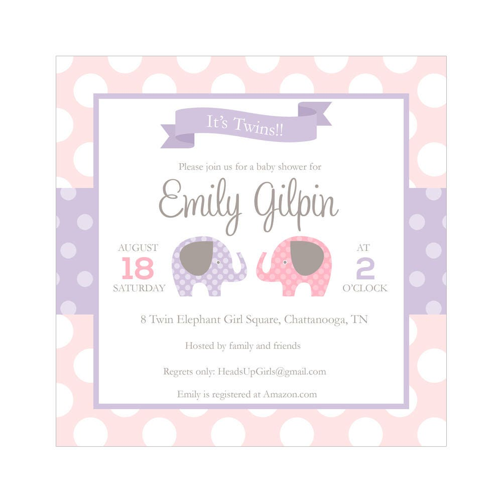 Set of 12 Personalized Square Twins Girls Baby Shower Invitations ...
