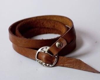 Tan Leather Cuff Leather Bracelet Wrap Leather Bracelet