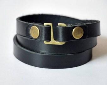 Leather Wrap Bracelet Wrap Bracelet Leather Cuff Bracelet Leather Bracelet in Black Color Hook Clasp Brass Tone