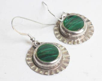 Malachite and Sterling Dangle Earrings Mexico Circular Ear Wires Vintage