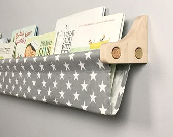 Book Sling and Wooden Brackets- Gray and White Star Wall Organizer - you choose size - 1 Sling