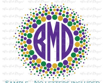 Mardi Gras Bead Dot Monogram Frame  SVG DXF pdf png jpg for Cameo Cricut & other electronic cutters