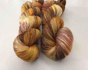 Merino Sock Wool, Hand-dyed 4 ply - Autumn Gold