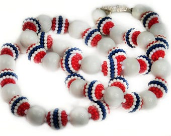 1960s Red White & Blue Glossy and Bubble Gum Beaded Single Strand Patriotic Vintage Necklace