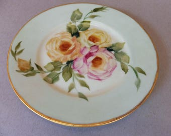 Pink, Peach and Yellow Roses on Green Vintage Bavarian Porcelain Plates