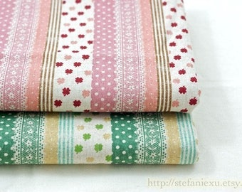 Linen Cotton Blended Fabric-Lucky Clover, Dots, Lace and Stripe Patchwork, Choose Color(Fat Quarter)