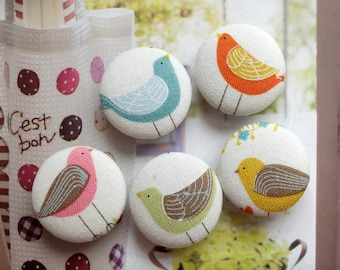 Lovely Spring Color Geometric Stripe Feather Blue Pink Orange Green Yellow Birds-Handmade Fabric Covered Buttons(0.98 Inches, 5PCS)