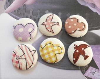 Pink Purple Khaki Yellow Brown Polka Dots Stripe Check Gingham Clouds Flying Birds-Handmade Fabric Covered Buttons(1.25 Inches, 6PCS)