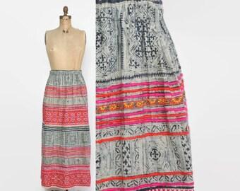 Vintage 70s Ethnic Skirt / 1970s Bright Embroidered Indigo Print Boho Cotton Maxi SKirt Xs - S