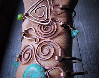 Copper Bangle with Hammered Copper Connector - BOHO - Gypsy - Assorted Styles