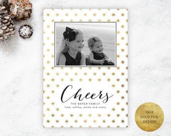 Printable Christmas Cheers Photo Card | Gold Foil Christmas Card, Christmas Photo Card, Classic Christmas Card, Preppy Christmas Card