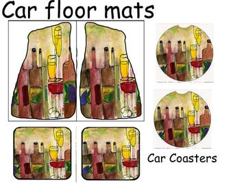 Tuscany wine Art Car Floor Mats from my original design