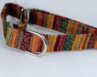 Small martingale collar brown, magenta, green, gold with gold filigree