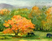 Fall Autumn Landscape Watercolor Original Painting Vermont Landscape Original Art Orange Maple Tree Horses