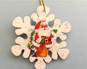 Vintage Glittered Wood Santa Snowflake Christmas Ornament