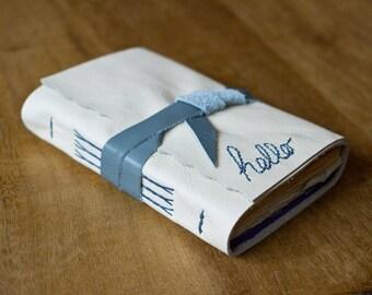 Rustic Cream Rainbow Leather Sketchbook - Handbound Book - Cotton Rag Paper - Hello Embroidery Art Journal