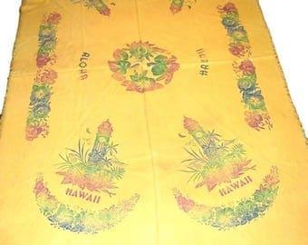 Aloha Vintage Hawaii State Souvenir Tablecloth Yellow Orange Tropical Flowers