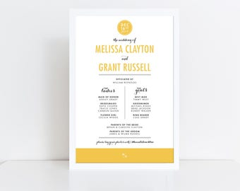 Modern Wedding Program Sign Wedding Ceremony Program Typographic Rustic Wedding Program Printed Programs Large Program Sign