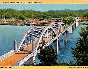 Vintage Oregon Postcard - The Umpqua River Bridge in Reedsport (Unused)