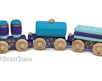 Blue and Purple Painted Wooden Toy Train Hand Made and Hand Painted FIVE CARS. Ready to Ship today.