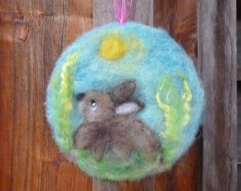 Wool rabbit - Spring art piece - New Zealand wool - Easter gift - Birthday gift