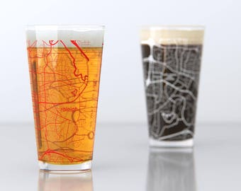 Raleigh, NC - NC State - College Town Pint Map Glasses