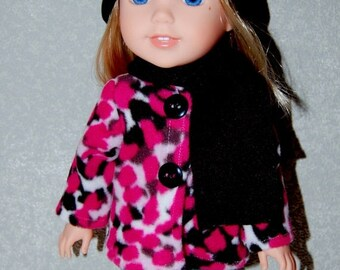 """Spring Sale Jacket Hat Scarf for 14"""" Wellie Wishers or Melissa & Doug Doll Clothes Pink with black hat  tkct1012 READY TO SHIP"""