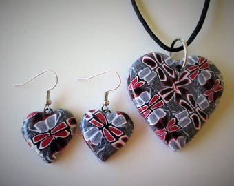 All My Hearts - Pendant and Earrings SET - Grey Red Black - Polymer Clay Jewelry