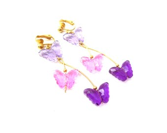 Pretty Pair of 1990's Signed Avon Gold Tone Metal Pink & Purple Plastic / Resin Butterfly Clip On Dangle Earrings