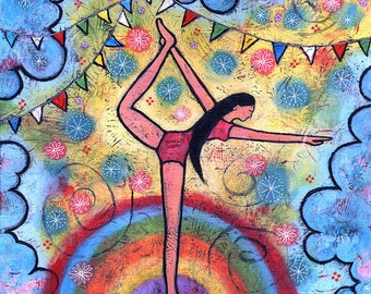 Original Acrylic Yoga Painting - Life's a Circus, Stay Balanced
