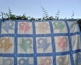 "Circa 1930s Basket Quilt Feed Sack Fabrics Cornflower Blue Borders Youth Crib Size 66"" x 47"""