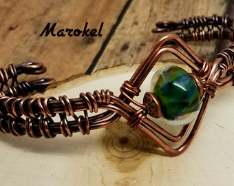 Lampwork Glass Cuff Copper Wire Weave Oxidized Metal Abstract Adjustable Green Blue Boro