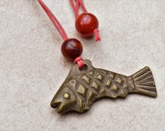 Vintage Tibetan Bronze Fish Pendant Necklace with Vintage Jade and Agate Beads on Red Braided Cotton Cord