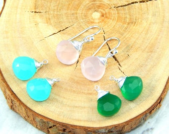 Interchangeable Earrings Set,Set of Three Gemstones,Aqua Blue, Moss Green and Salmon Pink Chacedony,Sterling Silver,Set of Three Earrings