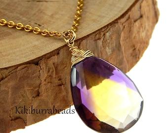 Ametrine Necklace,Feburary Birthday,November Birthday,Ametrine Jewelry,Ametrine Quartz,Ametrine Pendant,Purple and Yellow Gemstone Necklace