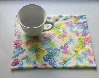 pastel pink blue yellow butterflies hand quilted snack mat table mat candle mat you decide use