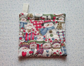 i heart snowman hand quilted insulated potholder hot pad with loop to hang