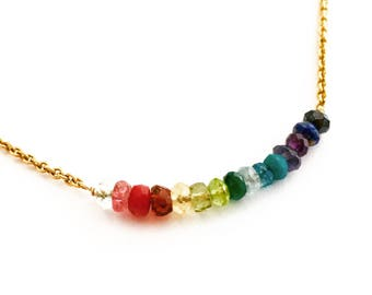 Rainbow Necklace. Rainbow Gemstones Necklace with Gold Chain. Colorful Genuine Multi Gemstones Necklace.