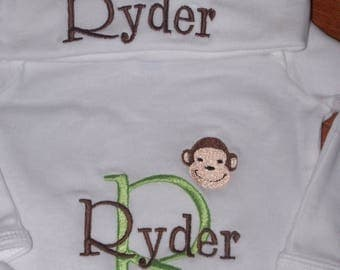 ON SALE Personalized Monkey Infant Gown and Cap set, Monogrammed Newborn Gown and Hat Set, Custom Colors Embroidered Baby gown